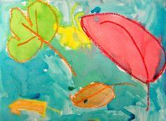 Bekijk en bespreek  vorm en kleur van echte bladeren. Laat zien hoe je  met wasco of panda bladeren tekent. Vorm en nerf. Daarna met iets verdunde ecoline de bladeren en het hele papier beschilderen.