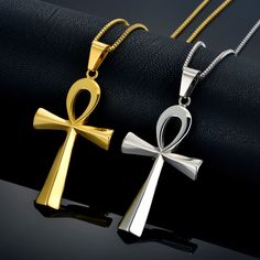 Egyptian Ankh Cross Charm Pendant Necklace For Woman/Men The Key Of The Nile Silver Plated Stainless Steel Egypt Jewelry