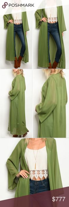 NOW AVAILABLE! OLIVE GREEN KIMONO / DUSTER Brand New Boutique item  Check out this fabulous chiffon Olive Green full length kimono / duster featuring flared sleeve ends and light weight sheer material! Pair over your favorite top with jeans!!   100% polyester Modeled in a size small  fall winter spring comfortable causal holiday party vacation cruise swimsuit cover up . Tops