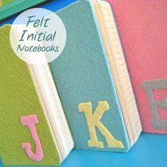 Felt initial notebook DIY