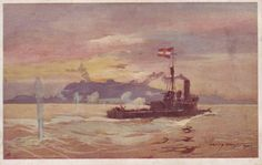 A postcard print of a painting by Harry Hausser of the Austro-Hungarian river monitor SMS Körös bombarding Belgrade in 1914.