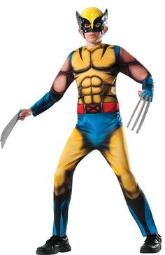 Your little superhero can be an X-Men for one day with the Marvel Deluxe Wolverine Child's Halloween Costume. This attention-getting outfit transforms them into a crime-fighting hero with a fiber filled muscle chest jumpsuit and mask. The Wolverine, Wolverine Claws, Wolverine Halloween Costume, Boy Costumes, Halloween Costumes For Kids, Children Costumes, Children Clothes, Adult Costumes, Trendy Halloween