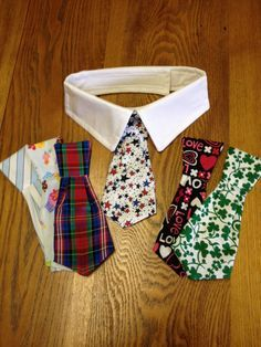 Pug or Small Dog Collar Tie Set by Pugpossessed on Etsy