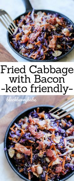 This keto salad consists of lightly friend cabbage, carrots, onions and bacon. It pairs perfectly with grilled chicken or steak!