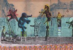 Sigmar Polke, Circus Figures, Mixed media on fabric, 300 x 500 cm Gerhard Richter, Art Du Cirque, Modern Art, Contemporary Art, Claes Oldenburg, Jasper Johns, Famous Art, Famous Names, Art Plastique