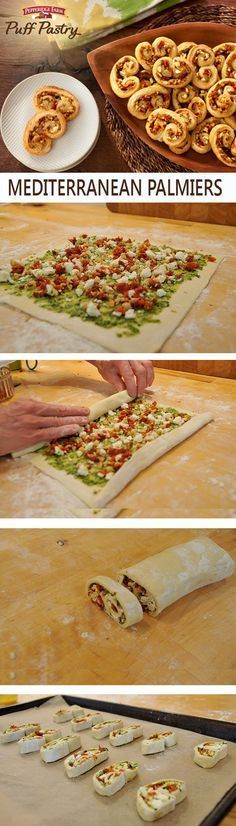 Puff Pastry Mediterranean Palmiers Recipe. This show stopping appetizer is perfect for your next dinner party or gathering. Filled with pesto, cheese and tomatoes and wrapped in flaky Puff Pastry, this appetizer is sure to be a crowd-pleaser. Looking to add an extra crunch, try adding some walnuts for the perfect bite.