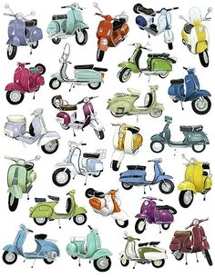 Vespa Smorgasbord scooter-- if i ever live in a small warm town, I'm getting one. Scooters Vespa, Motos Vespa, Motor Scooters, Scooter Scooter, Retro Scooter, Vespa Helmet, Vespa Motorcycle, Piaggio Vespa, Vintage Vespa