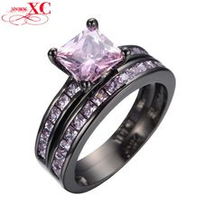 Dudee Jewelry Valentines Black Gold Plated Pink Zircon Stone Double Ring For Couple Engagement Wedding Ring Aneis RB0363. High Quality Product. High Polished / Fine Workmanship. Never Fade / Scratchproof and Anti - Allergy. Pack with Beautiful Bag as a Gift. Size info is estimate, if concern, Please leave me message.