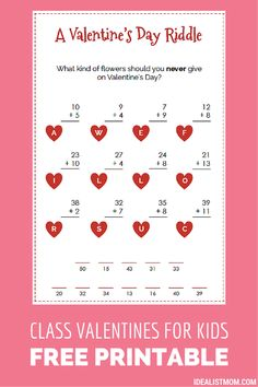 Need non-candy valentines cards for your kids to bring to school? These free printable cards combine Valentine's Day jokes and a math game for extra fun!