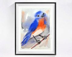 Cardinal Print Bird Art Print Flower watercolor by LaBerge on Etsy