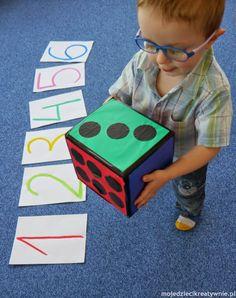 pomoce dydaktyczne, kostka edukacyjna, nauka liczenia, diy, Easy Diy Crafts, Kids Playing, Montessori, Activities For Kids, Scrapbook, Toys, School, Cards, Baby