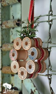 Vintage thread spool mini wreath how-to., DIY and Crafts, Learn how to create mini wreaths from vintage thread spools in this DIY tutorial. Perfect for ornaments, present toppers or home decor. Diy Christmas Ornaments, Homemade Christmas, Rustic Christmas, Christmas Projects, Holiday Crafts, Christmas Holidays, Christmas Wreaths, Christmas Decorations, Christmas 2019