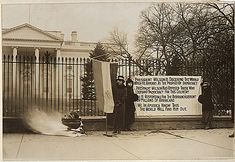 Woman suffrage in Washington, District of Columbia. Suffragettes bonfire and posters at the White House, Washington, District of Columbia. (National Archives, Record Group 165, ARC 533773)