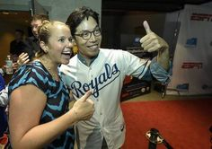 SungWoo Lee, who gained fame from his fanatic following from Korea of the Kansas City Royals and appearances last season, posed on the red carpet with Ellen Woltkamp, left, Monday night at Union Station prior to the film premiere of #BringBackSungWoo, an ESPN Films documentary on Lee's connection to the Royals.