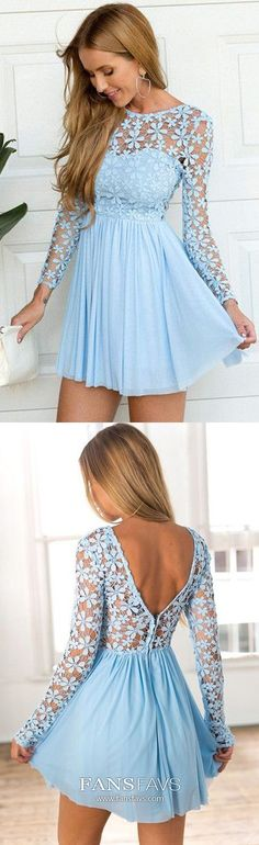Short Homecoming Dress, Chiffon Homecoming Dress, V-Back Homecoming Dress, A-Line Junior School Dress, Lace… Modest Formal Dresses, Dresses Elegant, Dresses Short, Dresses For Teens, Vintage Homecoming Dresses, Long Sleeve Homecoming Dresses, Prom Dresses With Sleeves, Graduation Dresses, Homecoming Hair