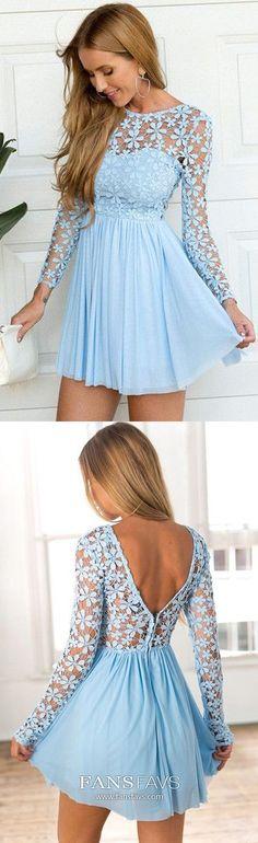Blue Homecoming Dresses Short, A Line Homecoming Dresses Long Sleeve, Open Back Homecoming Dresses Chiffon, Lace Homecoming Dresses Elegant #FansFavs #homecomingdresses #skybluedresses #longsleevedresses