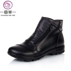 MUYANG MIE MIE Winter Snow Boots Women Genuine Leather Flat Ankle Boots 2017 New Women Shoes Woman Casual Warm Shoes Women Boots