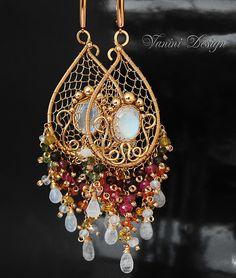 Moon garden-14k goldfill,watermelon tourmaline,Songea sapphire and rainbow moonstone chandelier earrings by VaniniDesign, via Flickr