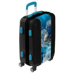Funny dolphin jumping luggage