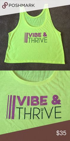 "THINK ""Vibe & Thrive"" crop tank top Neon Yellow!! THINK ""Vibe & Thrive"" crop tank top. Only worn once. Brand New. Perfect condition. Size small but will fit medium. No Trades!! THINK  Tops Crop Tops"