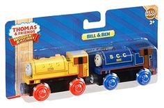 Fisher-Price introduces you two characters from the book and in the original series that would nicely fit your Thomas the train wooden tracks, Bill and Ben. This is a bundle set. It includes 2 train engine car, Bill and Ben, that uses the same style of couplings with major brands.