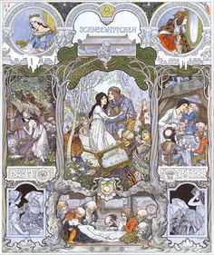 Heinrich Lefler/Joseph Urban, Illustration for Snow White in Bilderbogen für Schule und Haus (1905)
