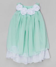 Mint Rosette Yoke Dress - Toddler