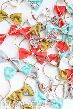 Blue Robin Cottage-- create bow garland for christmas tree... do red and green