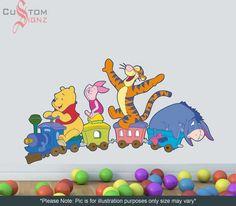 Winnie Pooh Piglet Tigger Donkey Train Disney Cartoon Wall Decal Sticker