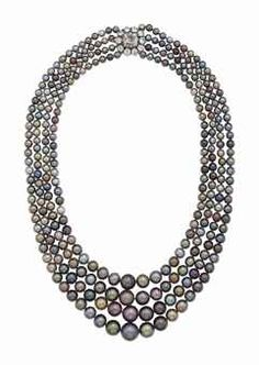 A MAGNIFICENT AND RARE NATURAL COLORED PEARL AND DIAMOND NECKLACE. Comprising four strands of eighty-one, seventy-six, sixty-nine and sixty-three natural gray and brown pearls, joined by a clasp, set with cushion-cut Internally Flawless 3.03 carat diamond, within an old European-cut diamond surround, mounted in silver-topped gold.