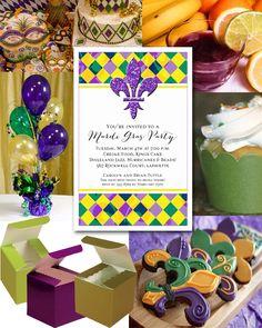 Mardi Gras Harlequin and Fluer de Lis Party Ideas - Announcingit.com