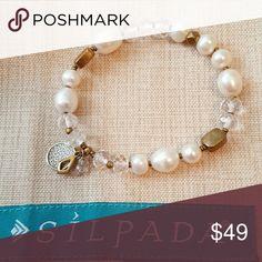 Silpada Down to Earth Stretch Bracelet Brass, Pearl, Rock Crystal and Sterling silver Silpada Jewelry Bracelets