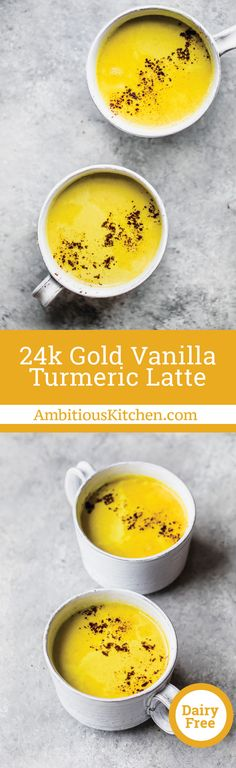 no sweetener for keto friendly Creamy turmeric latte with hints of vanilla, cinnamon, nutmeg and cardamom. It'll make you feel like pure gold. This recipe is in partnership with the amazing McCormick Spices. Yummy Drinks, Healthy Drinks, Healthy Snacks, Healthy Eating, Healthy Juices, Detox Drinks, Fun Drinks, Delicious Desserts, Dairy Free Recipes