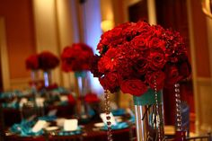 Turquoise And Red Wedding Centerpieces