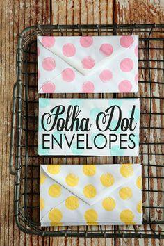 DIY Polka Dot Envelopes by @Jenn L Milsaps L Milsaps L Milsaps L Sedillo of eighteen25.com
