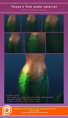Fish scale tutorial by Yuuza on @DeviantArt