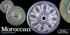 With its rich intricate pattern and the colours of Marrakech, these Moroccan sinks will add an exotic touch to your bathroom. As they are hand painted, each sink & wash basin is a unique piece of art. Bathroom Basin, Moroccan Tiles, Beautiful Bathrooms, Tile Design, Art Pieces, Hand Painted, Morocco, Bathroom Ideas, Choices