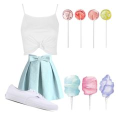 """Candy"" by mint-pastel ❤ liked on Polyvore featuring Chicwish, Topshop and Vans"