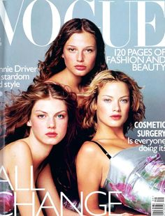 September 1998 Angela Lindvall, Bridget Hall and Carolyn Murphy all wear floral-print dresses, £2,550 each, at Dolce and Gabbana. Make-up by Clinique. Hair: Ward for Bumble and Bumble, NYC. Make-up: Virginia Young. Photography: Tom Munro
