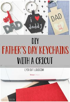 Use a Cricut Maker to create these DIY Leather Keychains for Dad. they make a great Father's Day or new dad gift idea! Little Gifts For Him, Gifts For New Dads, Fathers Day Gifts, Dad Gifts, Diy Keychain, Leather Keychain, Keychains, Do It Yourself Organization, Father's Day Diy
