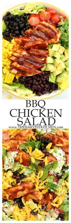 This BBQ Chicken Salad is a crowd-pleaser with tender chunks of BBQ chicken, black beans, avocado, tomatoes, fresh corn cut from the cob, cilantro, black olives and romaine lettuce all tossed in a delicious light ranch dressing. | clean eating | | healthy recipes | | summer salads | | chopped salad recipes | | barbecue chicken salad |