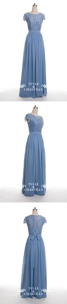 Windsor blue lace and chiffon bridesmaid dresses long