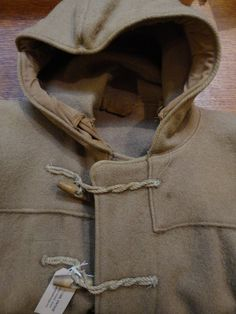 """Vintage 1950s British Royal Navy duffle coat tan brown khaki drab rope torpedo buttons XL 54"""" chest mod Ivy League military naval by TheDustbowlVintage on Etsy https://www.etsy.com/listing/217155768/vintage-1950s-british-royal-navy-duffle"""