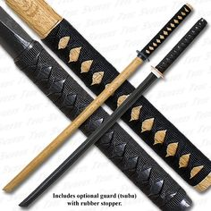 1 Black Bokken & 1 Natural Bokken Practice Sword Set + Tsuka Ito
