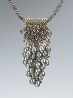 Green Grapes necklace by Kay Bonitz made from green freshwater pearls, Delicas and seed beads.