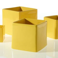 Yellow Ceramic Urban Square Vase | Modern Wedding | Afloral.com
