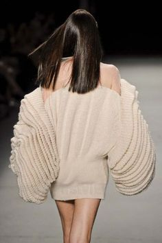 Sculptural Knitwear - knitted dress with oversized sleeves and 3D textures // Filhas de Gaia