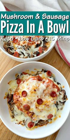 Low Carb Mushroom & Sausage Pizza In A Bowl - Quick recipe that's perfect for meal prepping and easy to customize with your favorite toppings! keto Low Carb Mushroom & Sausage Pizza In A Bowl Healthy Low Carb Recipes, Low Carb Dinner Recipes, Keto Dinner, Keto Recipes, Cooking Recipes, Low Carb Meals, Breakfast Recipes, Dinner Healthy, Health Recipes