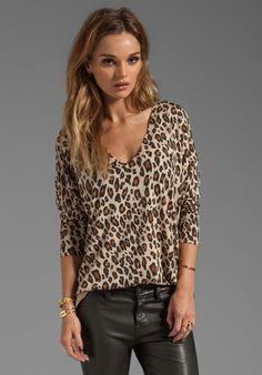 83c16ec3392a JOIE Bold Leopard Print Chyanne Sweater in Leopard Tan Red Top Outfit, Leopard  Print Top