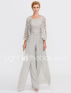 Pantsuit Straps Floor Length Chiffon Lace Mother of the Bride Dress with Lace Pleats by LAN TING BRIDE®
